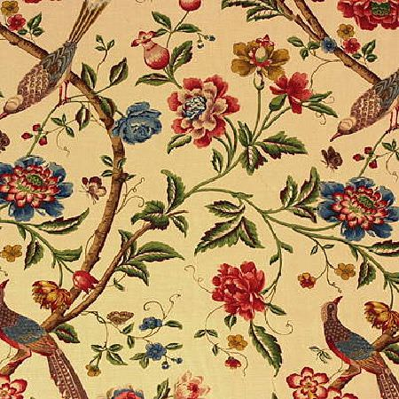 GP and J Baker -  19th Century Prints Fabric Collection - Beige fabric decorated with a printed pattern of flowers and birds inspired by the nineteenth century