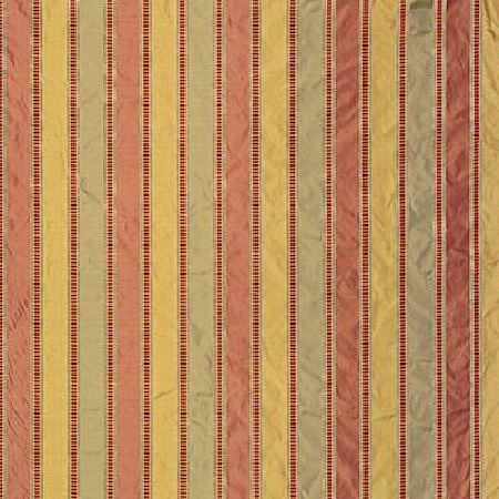 GP and J Baker -  Adriana Silks Fabric Collection - Silky fabric decorated with a pattern of symmetrical stripes in yellow, coral red and mint green
