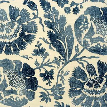 GP and J Baker -  Bleu Anglais Prints Fabric Collection - Simple fabric dyed in light shade of beige decorated with an elegant floral design in colour blue