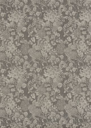 GP and J Baker -  Cosmopolitan II Fabric Collection - Sample fabric from the Cosmopolitan collection dyed in dark grey shade and featuring light grey floral design