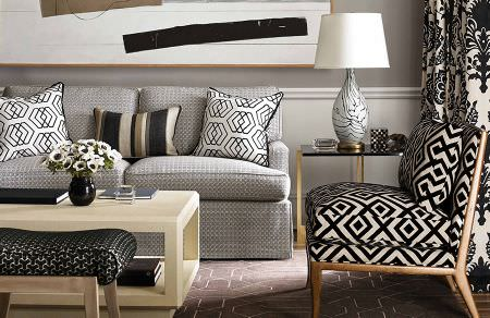 GP and J Baker -  David Hicks III Fabric Collection - White cushions with black edges and black geometric design and elegant black pattern on white furniture and curtains