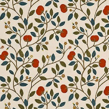 GP and J Baker -  Emperor's Garden Weaves I Fabric Collection - Simple fabric from the Emperors Garden Weaves collection dyed in soft beige shade decorated with vibrant floral design