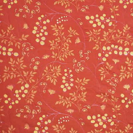 GP and J Baker -  Fenton Fabric Collection - Fabric dyed in a vibrant shade of red decorated with simple floral design in beige and light yellow