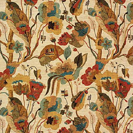 GP and J Baker -  Gatsby Fabric Collection - Fabric dyed in light shade of beige decorated with a floral design in brown, orange and red
