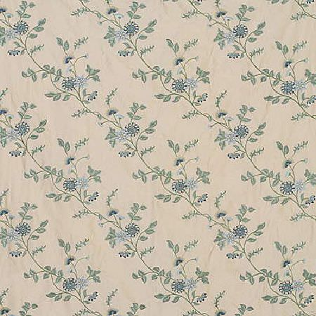 GP and J Baker -  Hanbury Weaves I Fabric Collection - Silky fabric dyed in light shade of grey decorated with a threaded pattern of green and blue flowers