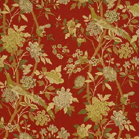 GP and J Baker -  Hidcote Prints Fabric Collection - Vibrant red fabric decorated with a pattern of branches with beige flowers and small beige birds