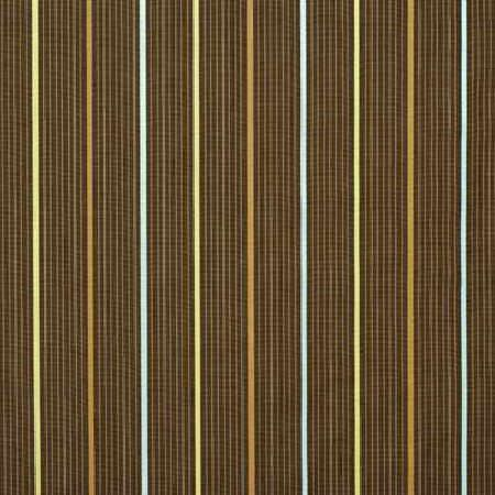 GP and J Baker -  Huxley Weaves Fabric Collection - Threaded fabric dyed in dark shade of brown decorated with a pattern of thin stripes in pastel colours