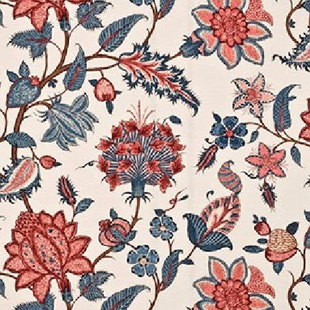 GP and J Baker -  Kingswood Prints Fabric Collection - Fabric dyed in colour light beige decorated with an elegant pattern of blue and red flowers