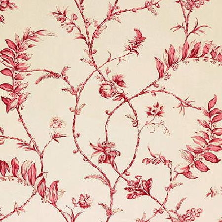 GP and J Baker -  La Fontaine Prints Fabric Collection - Fabric dyed in a very light shade of beige decorated with an interesting floral pattern in bright red shade