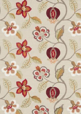 GP and J Baker -  Langdale Embroideries Fabric Collection - Fabric dyed in light beige decorated with a pattern of white flowers with brown leaves and grey stems