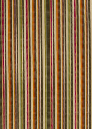GP and J Baker -  Langdale Velvets Fabric Collection - Dark olive green fabric decorated with a vibrant pattern of stripes in green, pink, beige and orange
