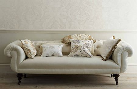 GP and J Baker -  Larkhill Fabric Collection - Very elegant light beige sofa and a collection of decorative cushions featuring different floral designs