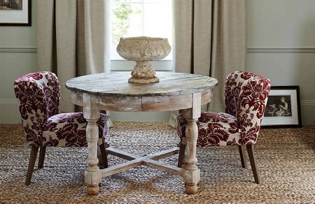 GP and J Baker -  Larkhill Fabric Collection - Wooden coffee table and small upholstered chairs in white with elegant velvet design in red