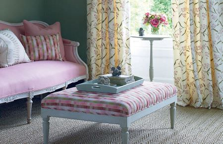 GP and J Baker -  Marwood I Fabric Collection - Vintage pink sofa with white frame, striped upholstered coffee table and beige floral curtains