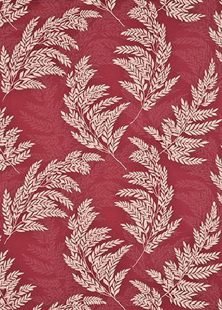 GP and J Baker -  Marwood II Fabric Collection - Red fabric decorated with a pattern of visible and slightly transparent white branches with leaves