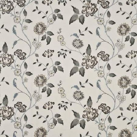 GP and J Baker -  Sabino Weaves Fabric Collection - Light grey fabric decorated with a pattern of thin, wavy branches with grey leaves and white flowers