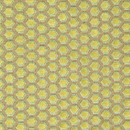 GP and J Baker -  Simply Colours Fabric Collection - Fabric dyed in light brown shade decorated with a continuous pattern of bright green hexagons