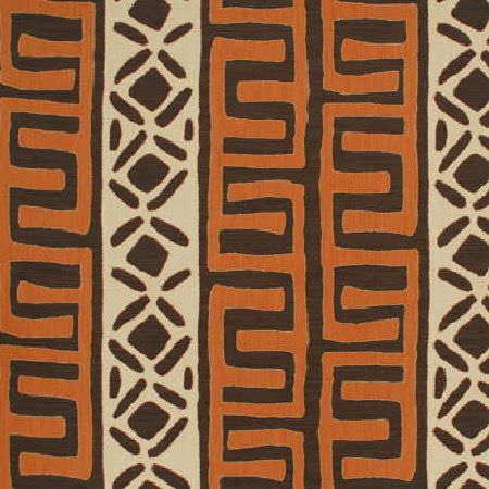 GP and J Baker -  Zanzibar Weaves Fabric Collection - Fabric featuring brown stripes with orange decorations and beige stripes with brown decorations