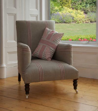 Ian Mankin -  Ian Mankin Fabric Collection - Armchair in taupe fabric with dusty pink stripes. Cushion in pink striped fabric with pink Unin Jack format.