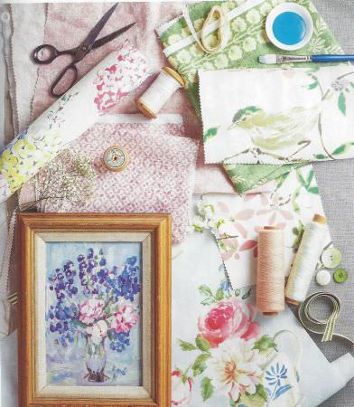 Inchyra -  Printed Linens Fabric Collection - Elegant floral and bird designs printed on white fabrics and interesting decorations on pink and green fabrics