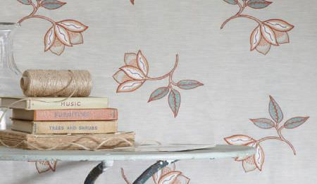 James Hare -  Ashburn Silks Fabric Collection - A very pale painted round metal table with a stack of books in front of a grey, pink and white floral patterned backdrop