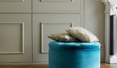 James Hare -  Carnaby Velvet Fabric Collection - Round velvet ottoman in bright blue shade and two small cushions in beige with modern designs