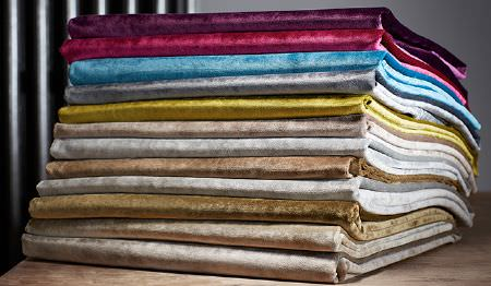James Hare -  Carnaby Velvet Fabric Collection - A set of modern velvet fabrics from the Carnaby collection in colours blue, red, beige, silver, gold, bronze