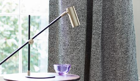James Hare -  Corolla Fabric Collection - Very elegant curtain dyed in dark grey shade decorated with a very small and clustered pattern of dots