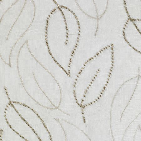 James Hare -  Natural Look Vol 4 Fabric Collection - White fabric patterned with very simple leaf outlines made up of thin grey lines and tiny grey-green dots