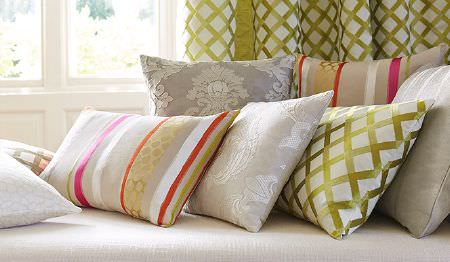 James Hare -  Pimlico Fabric Collection - Various patterns and stripes covering cushions and curtains in colours such as white, silver, green, pink, beige and orange