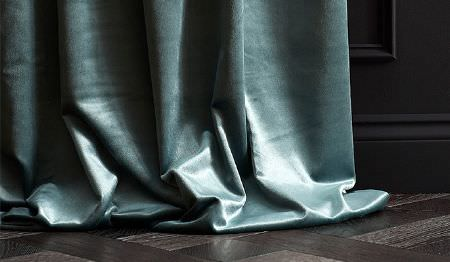 James Hare -  Richmond Velvet Fabric Collection - Plain, slightly shiny light duck egg blue coloured floor-length curtains