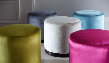 James Hare -  Richmond Velvet Fabric Collection - Five small round footstools, covered with plainolive green, blue-grey, white, sky blue and hot pink fabrics