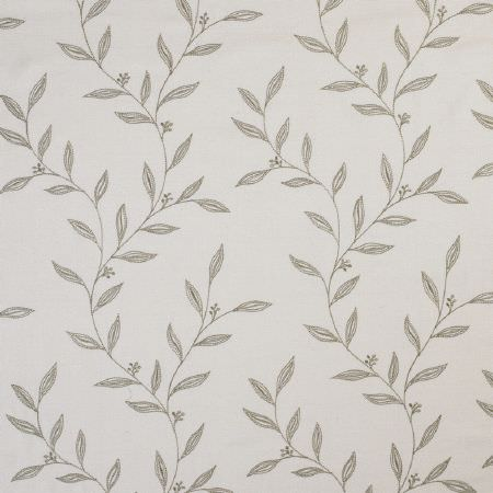 James Hare -  Willow Silks Fabric Collection - White fabric patterned with strings of simple light grey coloured leaves
