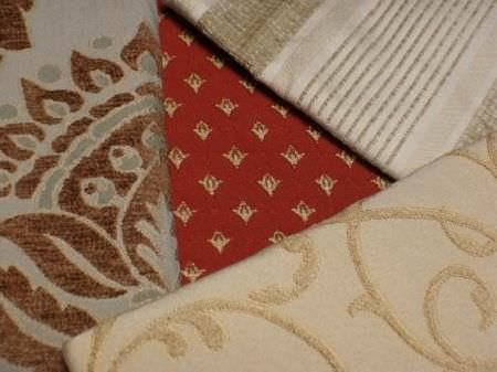 Jim Dickens -  Alicante Fabric Collection - A selection of 4 different patterned and striped fabrics, including colours such as cream, gold, beige, grey-green, brown and very pale blue