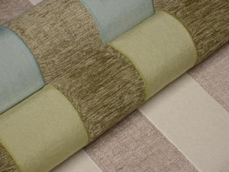Jim Dickens -  Alicante Fabric Collection - Striped fabrics with textured green bands on blue and light green backgrounds, and a light brown background with textured brown stripes