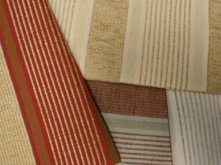 Jim Dickens -  Alicante Fabric Collection - Four striped fabrics with the same pattern but a variety of colours, such as cream, grey, red, light grey and grey-green