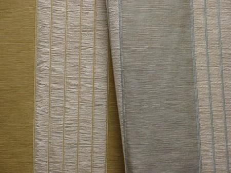 Jim Dickens -  Avalon Fabric Collection - Folds of two striped fabrics in gold and two different shades of grey