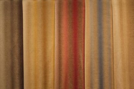 Jim Dickens -  Cambridge Fabric Collection - Five different cream coloured striped fabrics; 1 with a brown design, 1 with yellow, 1 with a red pattern, 1 featuring blue, and 1 in gold