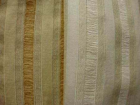 Jim Dickens -  Corsini Avalon Fabric Collection - Grey, gold and grey-green striped fabric, with fabric with the same striped pattern in shades of light grey and cream