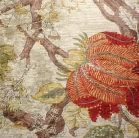 Jim Dickens -  Eden Fabric Collection - Swatch of fabric with large red flowers, chunky brown branches, cream and green leaves on a champagne coloured background