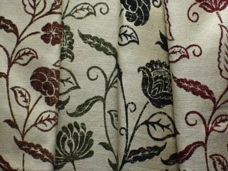 Jim Dickens -  Farnese Fabric Collection - Four beige coloured fabrics, each with the same simple floral pattern, either in brown, green, black or red