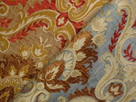 Jim Dickens -  Firenze Fabric Collection - Samples of two luxurious fabrics, with ornate brown, cream, red and gold patterns on gold and light blue backgrounds