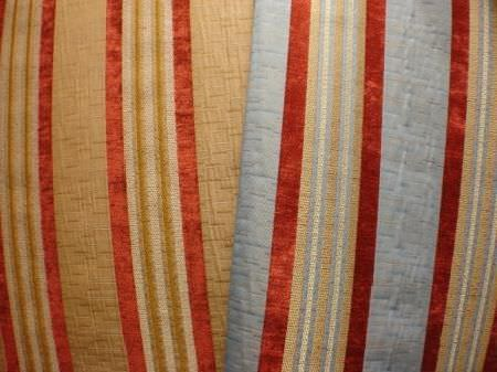 Jim Dickens -  Firenze Fabric Collection - Two striped fabrics - both featuring gold and red, but one has light blue while the other has a different shade of gold