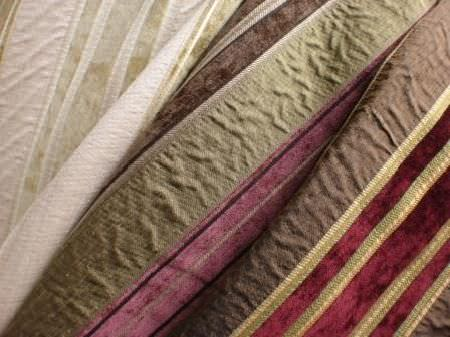 Jim Dickens -  Isabella Fabric Collection - Three different striped fabrics featuring cream shades, green and purple, and brown, gold and scarlet