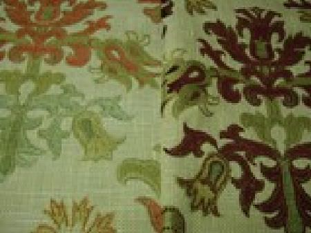 Jim Dickens -  Merlot Fabric Collection - Two co-ordinating light green fabrics with large patterns in light green, although on has bright orange and the other has dark purple