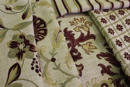Jim Dickens -  Merlot Fabric Collection - Dark red, gold and olive green coloured patterns and stripes on this selection of five grey-beige fabrics