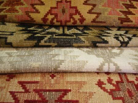 Jim Dickens -  Murillo Fabric Collection - Aztec style patterns on four folds of fabric, in a variety of colours such as gold, pink, red, black, beige, grey, white and cream