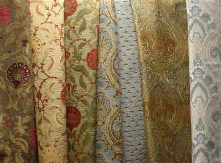 Jim Dickens -  Olympos Fabric Collection - Seven fabrics which all have very busy, ornate designs, in a variety of colours including light blue, gold, green, cream and red
