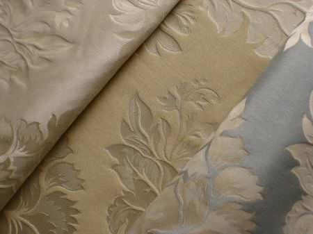 Jim Dickens -  Perceval Fabric Collection - Cream coloured leaf designs which have been depressed ever so slightly into luxurious shiny cream, light gold and light blue fabrics