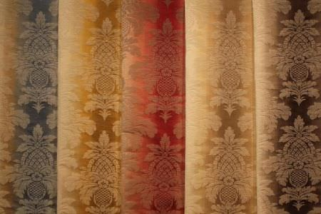 Jim Dickens -  Saragossa Fabric Collection - Very subtly patterned cream fabric which is also striped with either blue, yellow, red, gold or brown